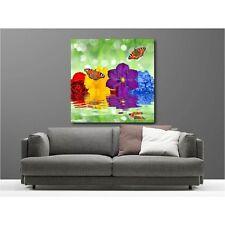Tableaux toile déco carré fleur papillon 121889944