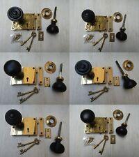 """4"""" x 3"""" OTTONE MASSICCIO Eastlake LOCK + vecchio vintage con Rim Serratura Maniglie"""