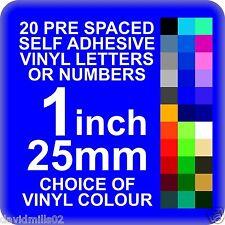 20 X 1 Pulgadas o 25mm Auto Adhesivo Vinilo Letras o Números