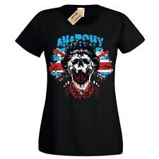 Anarchy Punk T-Shirt UK Union Jack flag queen england Womens Ladies
