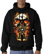Velocitee Mens Hoodie Chopper Biker Rider With Skull & Flames Motorcycle A22590