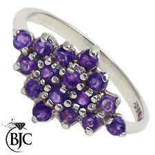 BJC 9 ct Oro Blanco Amatista Diamante Cluster De Forma anillo de compromiso R262