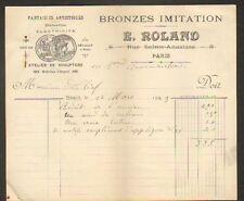 "PARIS (III°) ATELIER de SCULPTURE BRONZES ""E. ROLAND"" en 1923"