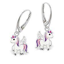 kl. Pegasus Einhorn Brisur Ohrhänger 925 Silber Pferd Kinder Mädchen Ohrringe
