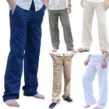 UK Mens Cotton Loose Pants Beach Drawstring Yoga Elasticated Linen Trouser Pants