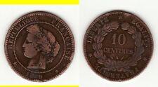 RARE COTE12 EURO TB 10 CENTIMES CERES 1889A