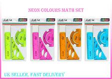 Neon Maths Set Math Flexible Ruler Protractor Square 3 PC Bright Colours School