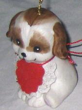 "Brown White 2.5"" Ceramic Dog Figurine Bell Ornament"