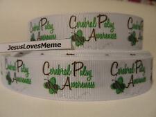 "Grosgrain Ribbon, Cerebral Palsy Awareness, Green Butterfly, Medical, Hope, 7/8"""