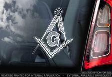Freemasons - Car Window Sticker -Square & Compasses Masonic Decal Logo Sign -V01