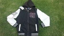 Gray White Hoody Jacket Varsity style Long sleeve Hoodie Jacket Coat XL