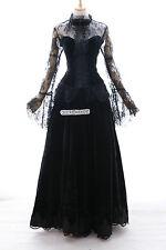 H-3421 Gr. M Gothic Lolita Vampir Larp Samt schwarz Cosplay Kostüm Kleid dress