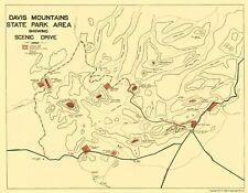 Old State Map - Davis Mountains State Park Texas - Swartz 1935 - 23 x 29.57