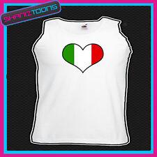 ITALY ITALIAN FLAG LOVE HEART UNISEX  PRINTED  VEST TOP