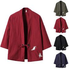 UK Mens Japanese Traditional Style Jackets Kimono Tie Waist Fashion Outwear Tops