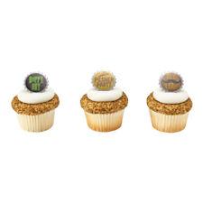 Beer Bottle Cap Cupcake Topper Decorations - Set of 12