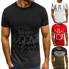 OZONEE 6410 Herren T-Shirt Kurzarm Shirt Aufdruck Figurbetont Slim Fit Basic MIX