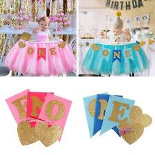 Glitter one Banner Girl Boy 1st Birthday High Chair Baby Shower Party Decor New~
