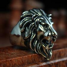 Huge Stainless Steel Lion Head King of Animal Large Fashion Men's Biker Ring