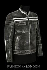 CAFE RACER Leather Jacket Black Vintage Mens Biker Speed Punk Style Jacket 2665