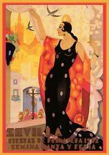 1930'S SPANISH ART DECO SEVILLE SPRING FESTIVAL  A3 POSTER REPRINT