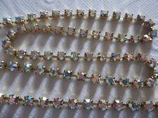 3mm Clear AB Rhinestone Chain - Brass Setting - Czech Crystals - Choose Length