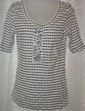 Women's Old Navy Black & White Polka Dot Short Sleeve Ruffle Henley Top Sz Small