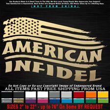 Infidel American Tattered Flag Stars Left Military Militia 3% Decal Sticker