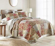 Leslie 3-piece Floral Patchwork Reversible Vintage Washed 100% Cotton Quilt Set