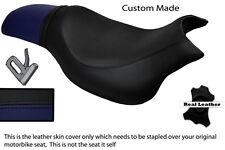 Negro Y Azul Marino Custom encaja Hyosung Gv 650 Aquila 04-11 Doble Cuero Funda De Asiento