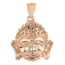 Solid Rose Gold Buddha Head Pendant
