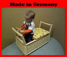 NEU - Kinder Sitz Truhe Bank mit Lenkrad Rattan - Spielzeug Korb Kiste Box Möbel
