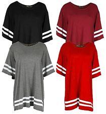 New women's plain stripy jersey baggy t shirts newyork baseball tops  8-22