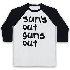 SUNS OUT GUNS OUT SUN'S BEACH UNOFFICIAL 22 JUMP STREET 3/4 SLEEVE BASEBALL TEE