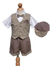 Toddler Summer  Boys Short Set, Khaki/White, Size: Large, X-Large, 2T