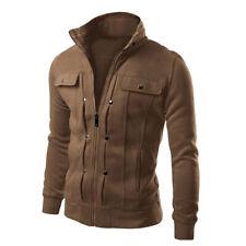 Men Winter Slim Zipper Pocket Warm Sports Sweatshirt Hoodies Jacket Outwear Coat