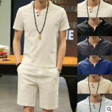 Retro Men Suits Linen Blend Summer Chinese V-neck Leisure T-shirt Shorts 2Pcs Sz
