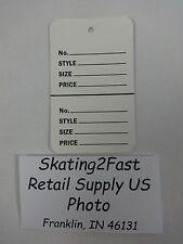 "White Unstrung 2-Piece Coupon Garment Merchandise Price Tags 1 3/4"" x 2 7/8"" Lg"