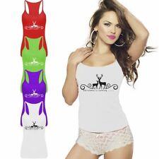 Reindeer Christmas Is Coming Printed Ladies Top Womens RacerBack Lycra Vest Lot