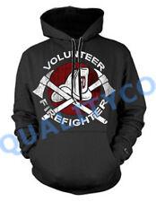 Men's VOLUNTEER FIREFIGHTER Black Hoodie Sweatshirt Sweater fire fighter EMS
