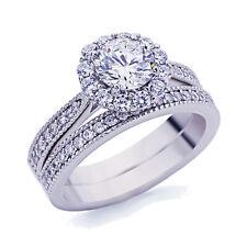 5mm Platinum Plated Silver 1ct CZ Vintage Wedding Engagement Ring Bridal Set
