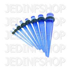 Ear Taper Lobe Stretcher - Straight O-Ring | 1.6mm-10mm | Dark Blue Transparent