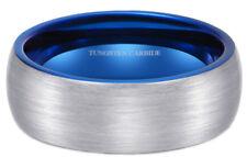 Blue Interior Brushed Tungsten Carbide Wedding Engagement Ring - 8mm