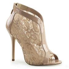 "5"" Nude Cream Vintage Lace Wedding Shoes Bridal Ballroom Dance Heels size 7 8 9"