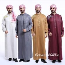 Muslim Men's Eid Robe Islamic Clothing Thobe Dishdasha Saudi Hajj Abaya Dress