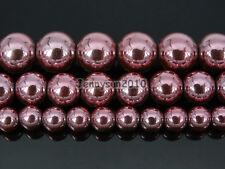 Non Magnetic Metallic Light Pink Hematite Gemstone Round Beads 6mm 8mm 10mm