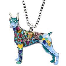 Enamel Alloy Floral Doberman Dog Necklace Pendant Chain Animal Jewelry For Women
