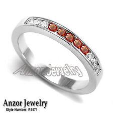 Eleven Channel Set Diamond & Orange Sapphire Wedding Band Ring 18k W/G #R1571