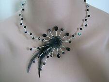 Collier Original Noir/Argenté p robe de Mariée/Mariage/Soirée Plume/Fleur/Perles
