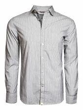 JACK & JONES MEN'S DRESS SHIRT BUTTON-DOWN STRIPED BLACK WHITE EURO SLIM FIT